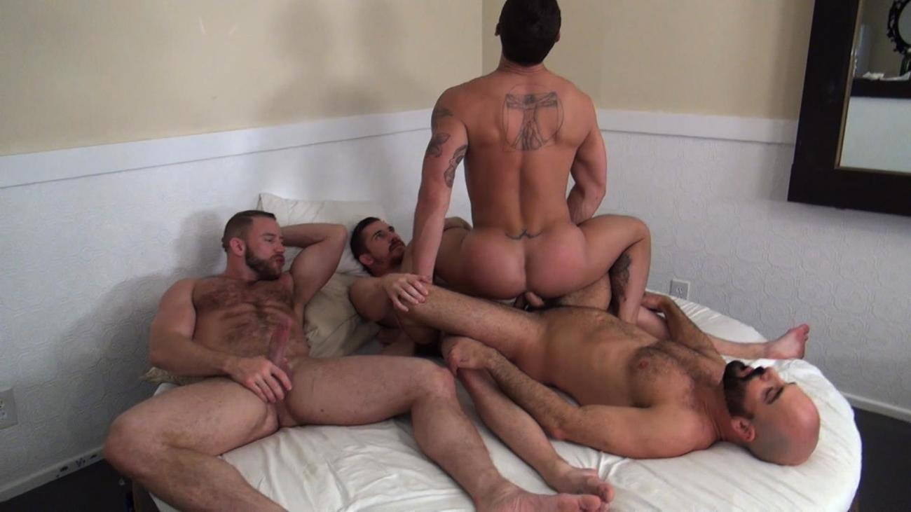Tate Ryder Gets Three Hairy Muscle Daddy Bareback Cocks Thro