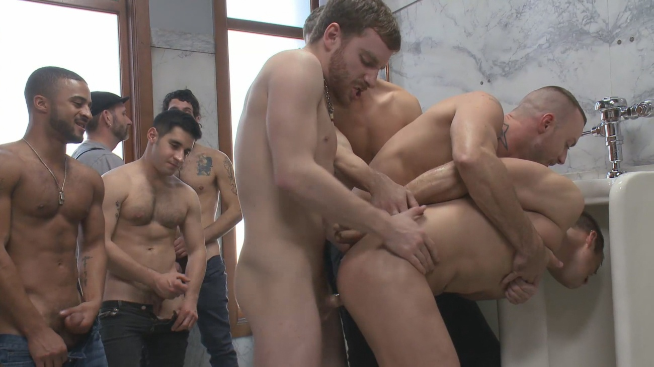 Interracial gay sex, anal creampie, inter racial men gang bang, interracial porn